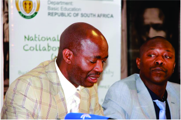 Department of Basic Education Director General Mr Mathanzima Mweli & The Departments  Spokesperson Mr Elija Mhlanga at the briefing in Pretoria.